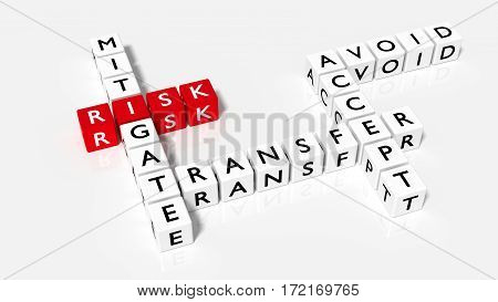 Crossword puzzle with dice showing risk responses in red and white 3D illustration