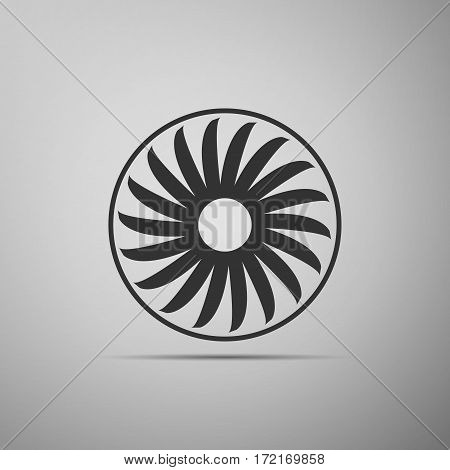 Ventilation sign icon. Ventilator symbol flat icon on grey background. Vector Illustration