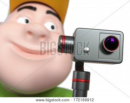 Running Fat boy holding action camera. 3d illustration