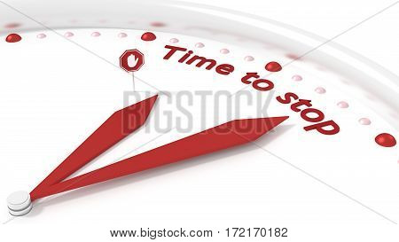 Clock with two red hands pointing to the words time to stop 3D illustration