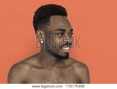 Men Candid Smile Look Away Studio