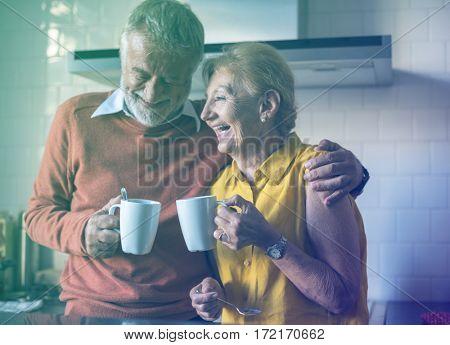 Photo Gradient Style with Senior Drink Tea Coffee Kitchen Happiness