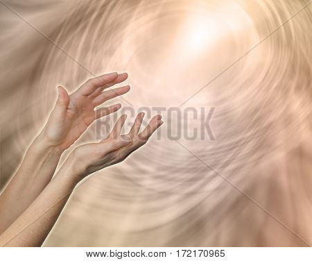 Divine Light Sacred Source of All That Is - female hands reaching up towards a glowing while light amidst a pale flesh colored linear matrix energy field with plenty of copy space
