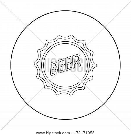 Bottle cap icon in outline style isolated on white background. Oktoberfest symbol vector illustration.