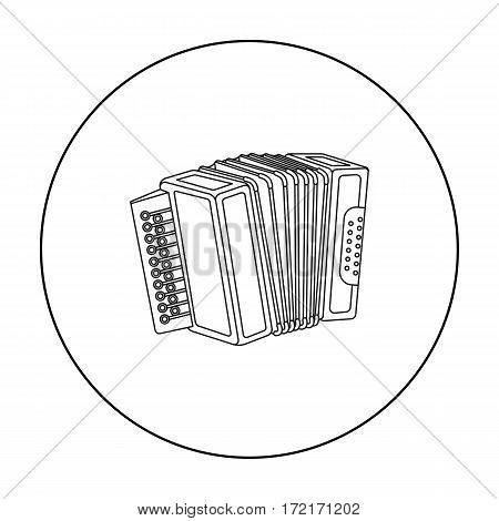 Accordion icon in outline style isolated on white background. Oktoberfest symbol vector illustration.