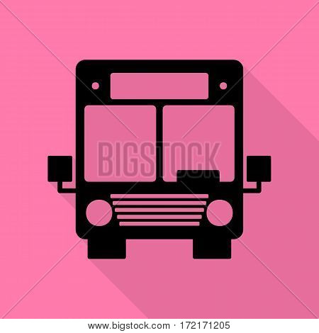 Bus sign illustration. Black icon with flat style shadow path on pink background.