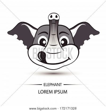Elephant Face Happy Logo And White Background Vector