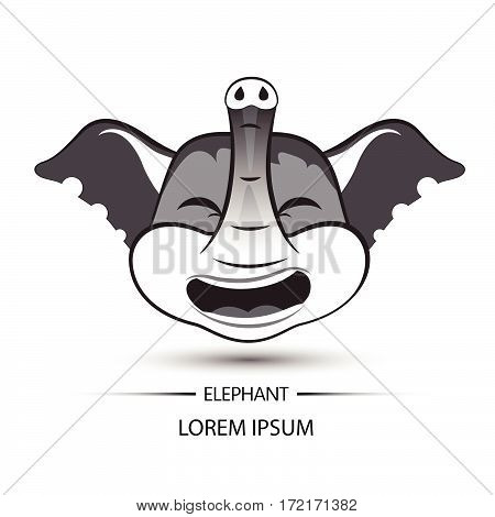 Elephant Face Laugh Logo And White Background Vector