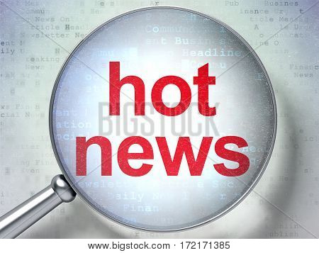News concept: magnifying optical glass with words Hot News on digital background, 3D rendering