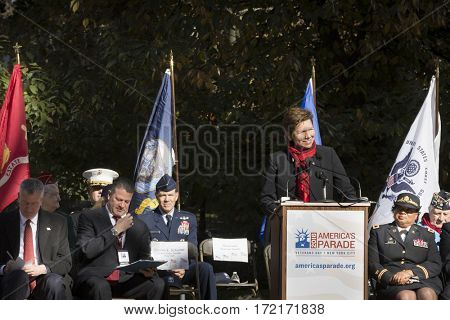 NEW YORK - 11 NOV 2016: Loree Sutton Commissioner of the NYC Mayors Office of Veterans Affairs, US Army Brig. General Ret. speaks at Americas Parade ceremony in Madison Square Park on Veterans Day.