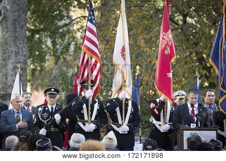 NEW YORK - 11 NOV 2016: Presentation of Colors by the military honor guard at the opening ceremony in Madison Square Park before the annual parade up 5th Avenue on Veterans Day in Manhattan.