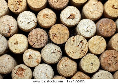 Close up pattern background of many different wine corks, wine corks background, different wine corks texture.