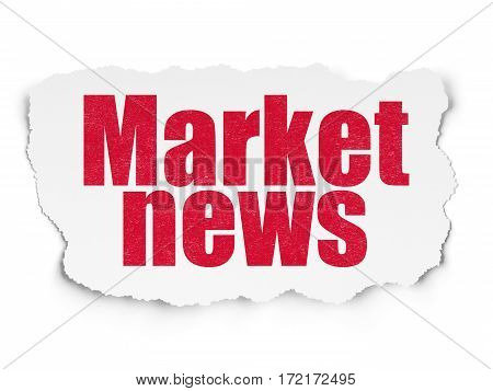News concept: Painted red text Market News on Torn Paper background with  Tag Cloud