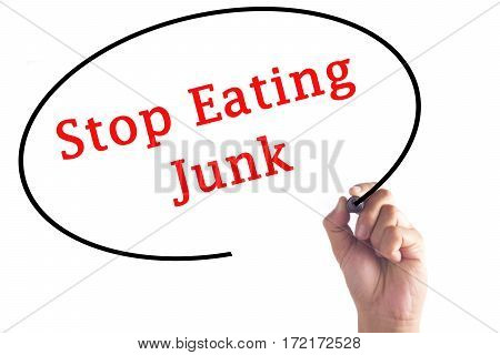 Hand Writing Stop Eating Junk On Transparent Board