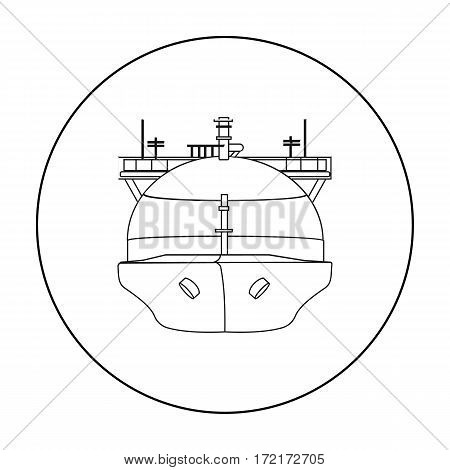 Oil tanker icon in outline style isolated on white background. Oil industry symbol vector illustration.