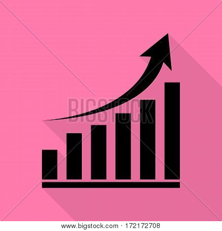 Growing graph sign. Black icon with flat style shadow path on pink background.