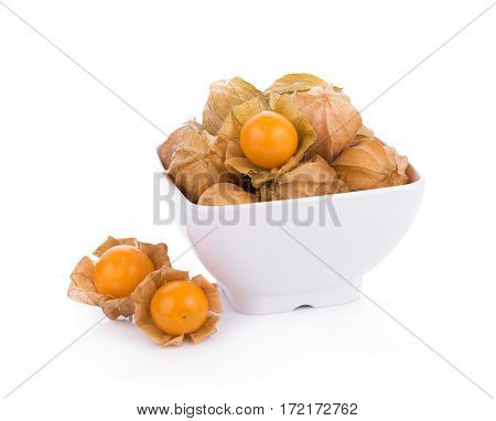 Closeup cape gooseberry on white background. physalis
