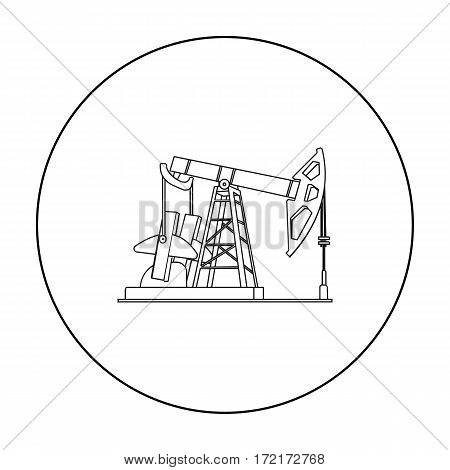 Oil pumpjack icon in outline style isolated on white background. Oil industry symbol vector illustration.