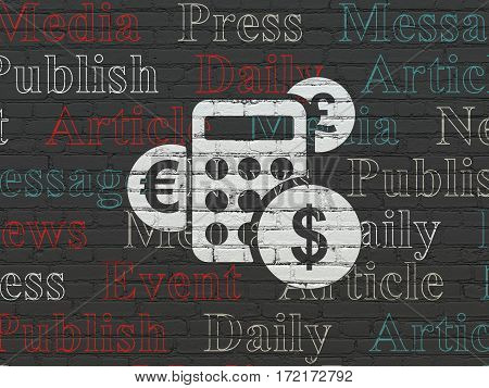News concept: Painted white Calculator icon on Black Brick wall background with  Tag Cloud