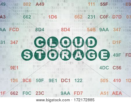 Cloud computing concept: Painted green text Cloud Storage on Digital Data Paper background with Hexadecimal Code