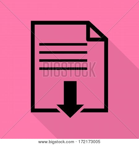File download sign. Black icon with flat style shadow path on pink background.
