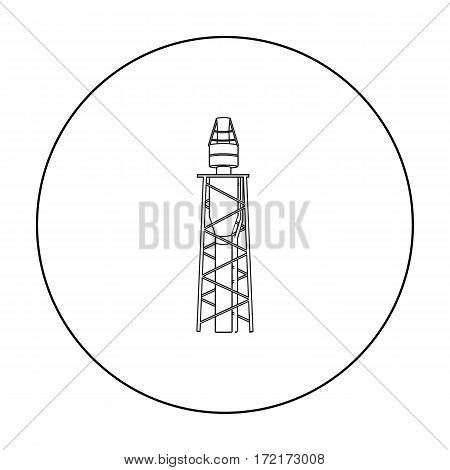 Oil rig icon in outline style isolated on white background. Oil industry symbol vector illustration.