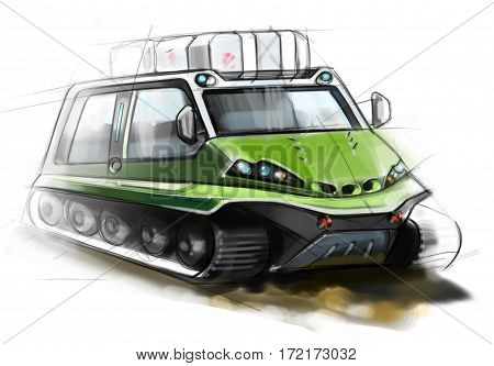 The design of modern all-terrain vehicle. Illustration.