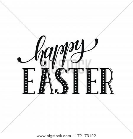 Hand written Easter phrase. Greeting card text template isolated on white background. Happy easter lettering in hand drawn calligraphy style.