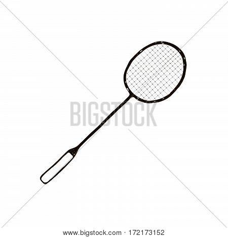 Hand drawn badminton racket icon isolated on white background.