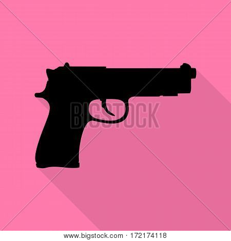 Gun sign illustration. Black icon with flat style shadow path on pink background.