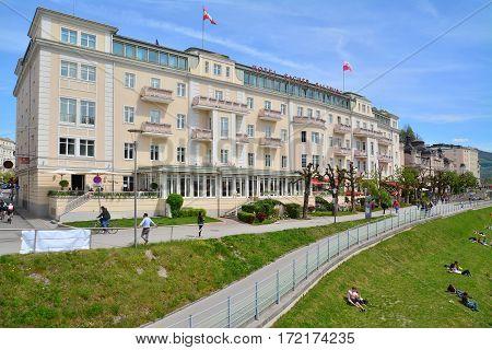 Salzburg Austria - April 25 2015: the sacher hotel in salzburg austria. shot taken on april 25th 2015