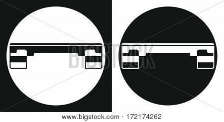 Fitness step board icon. Silhouette fitness step board on a black and white background. Sports Equipment. Vector Illustration