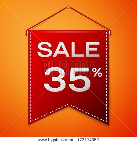 Red pennant with inscription sale thirty five percent Discounts over a orange background. Sale concept for shops store market, web and other commerce. Vector illustration.