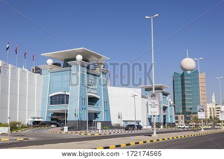 FUJAIRAH UAE - DEC 1 2016: Exterior of the LuLu Mall in the city of Fujairah. United Arab Emirates Middle East