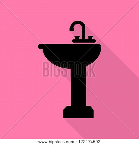 Bathroom sink sign. Black icon with flat style shadow path on pink background.