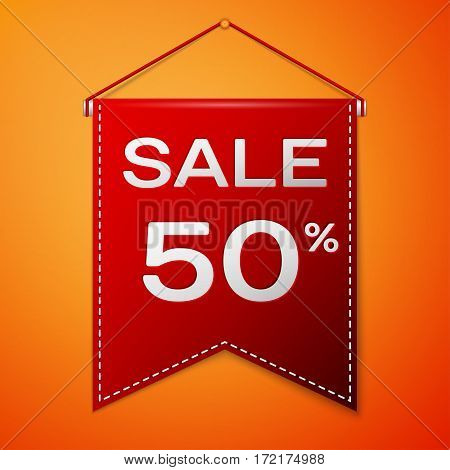 Red pennant with inscription sale fifty percent Discounts over a orange background. Sale concept for shops store market, web and other commerce. Vector illustration.