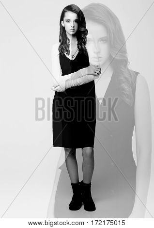 Fashion model collage transparent wearing black dress with no sleeves on white background