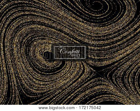 Luxury holiday background with shiny golden and silver glitters. Vector illustration of glittering curled lines pattern. Vintage jewelery ornament. Festive paillettes decoration