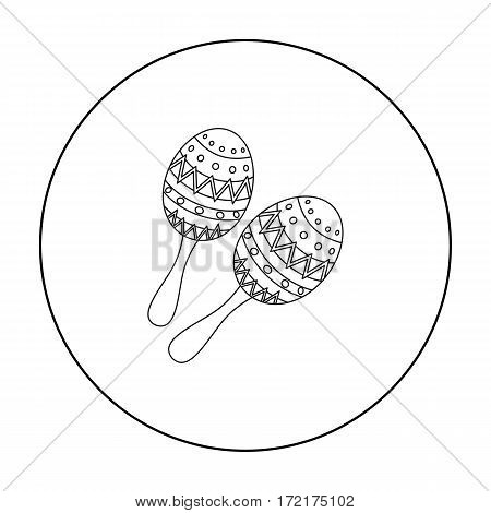 Maracas icon in outline style isolated on white background. Musical instruments symbol vector illustration