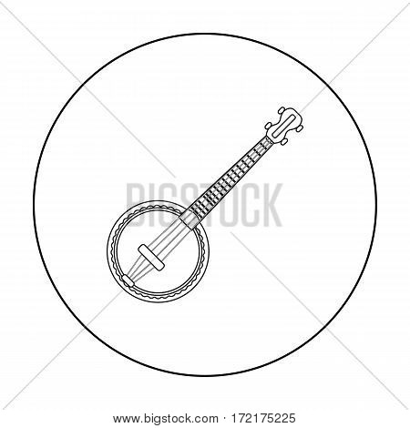 Banjo icon in outline style isolated on white background. Musical instruments symbol vector illustration