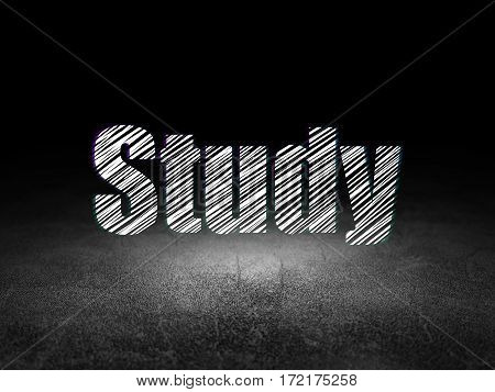 Learning concept: Glowing text Study in grunge dark room with Dirty Floor, black background