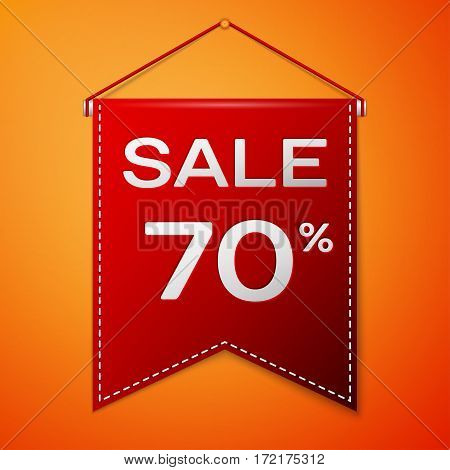 Red pennant with inscription sale seventy percent Discounts over a orange background. Sale concept for shops store market, web and other commerce. Vector illustration.