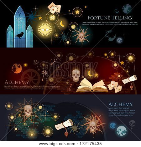 Fortune telling banner. Medieval alchemy mysticism occultism esotericism. Medieval castle of wizard. Vintage key magic objects and scrolls alchemy concept