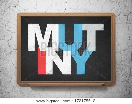 Politics concept: Painted multicolor text Mutiny on School board background, 3D Rendering