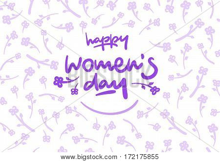Happy womens day lettering vector logo postcard with flowers in background