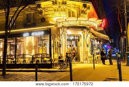 Paris France-February 15 2017: The cafe Le Cepage Montmartrois at night located in Montmartre area of ParisFrance.