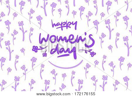 Happy Womens Day Lettering Vector Logo Postcard Flowers