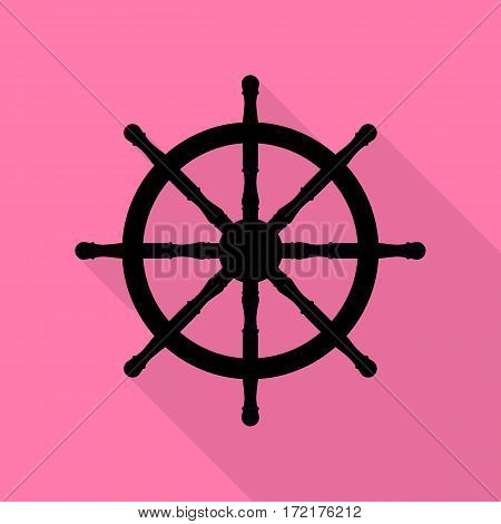 Ship wheel sign. Black icon with flat style shadow path on pink background.
