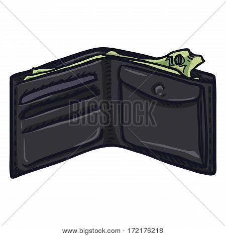 Vector Single Cartoon Open Wallet