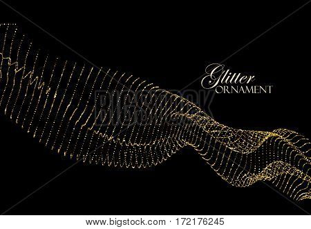 Luxury holiday background with shiny golden glitters. Vector 3D illustration of abstract wave of golden glitters. Futuristic jewelery ornament. Festive paillettes decoration